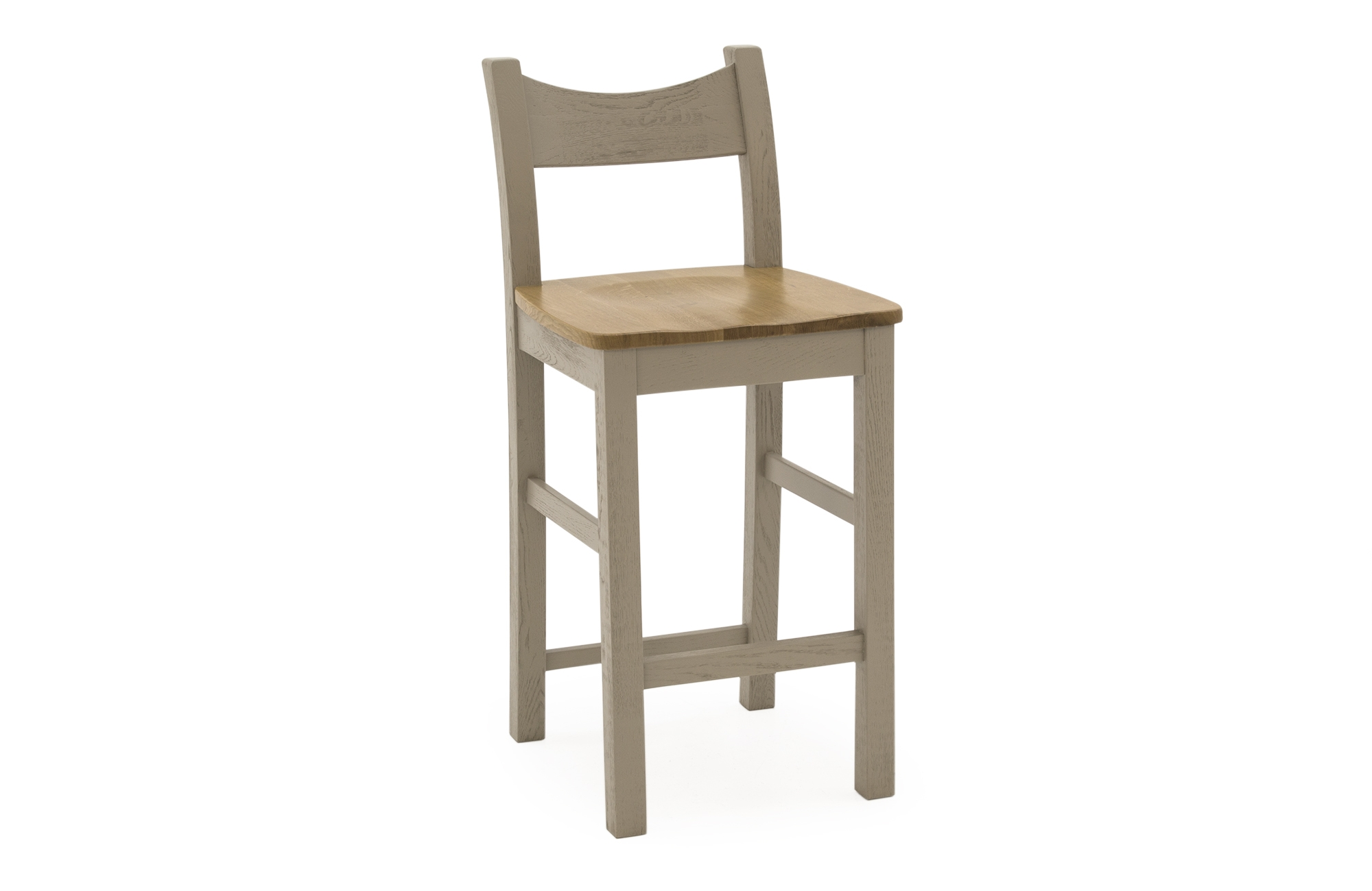 Set 2 scaune de bar din lemn de stejar si furnir Logan Taupe l46xA52xH110 cm