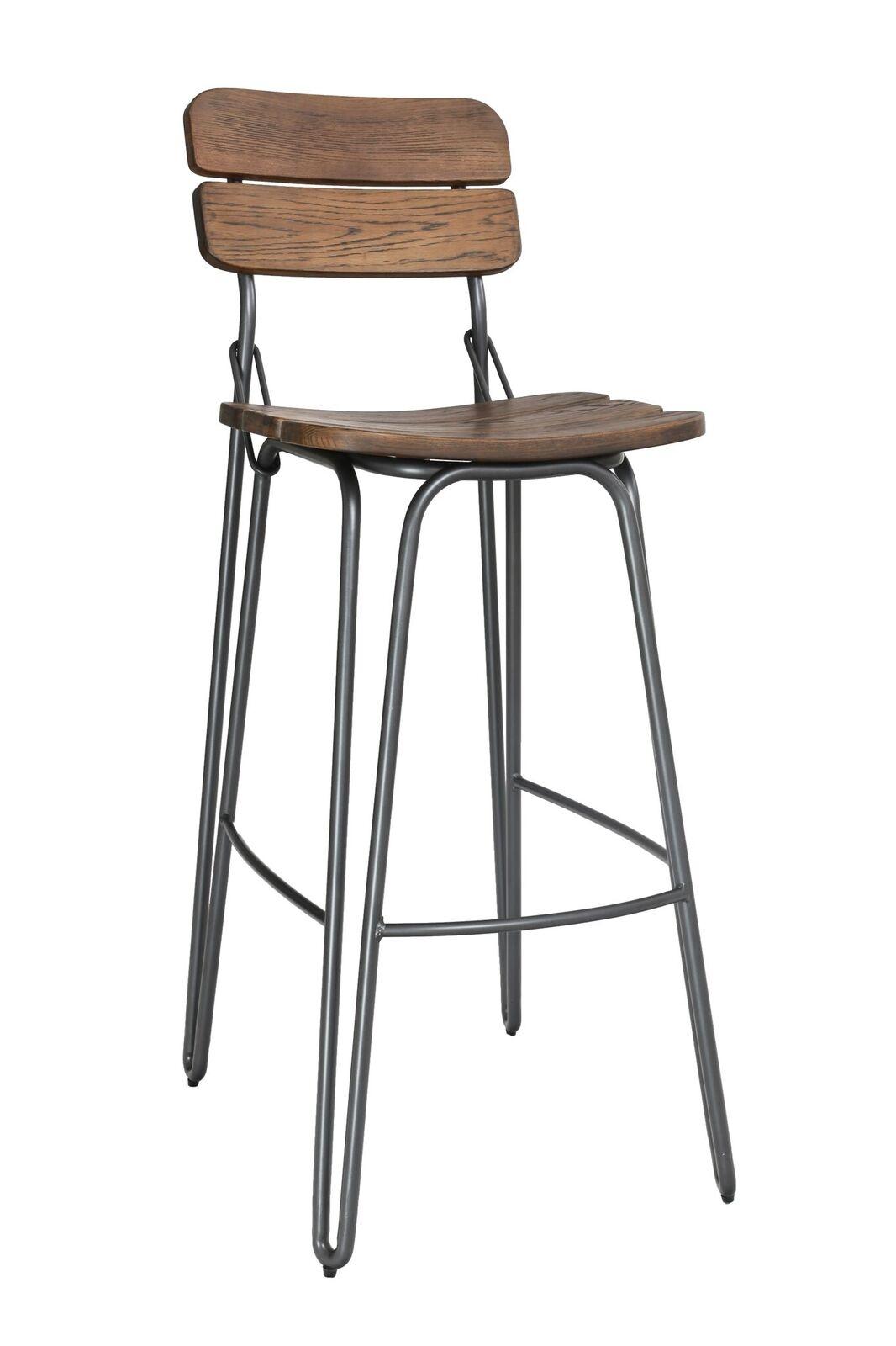 Set 2 scaune de bar din lemn de ulm cu picioare metalice Delta Brown l39xA51xH93 cm