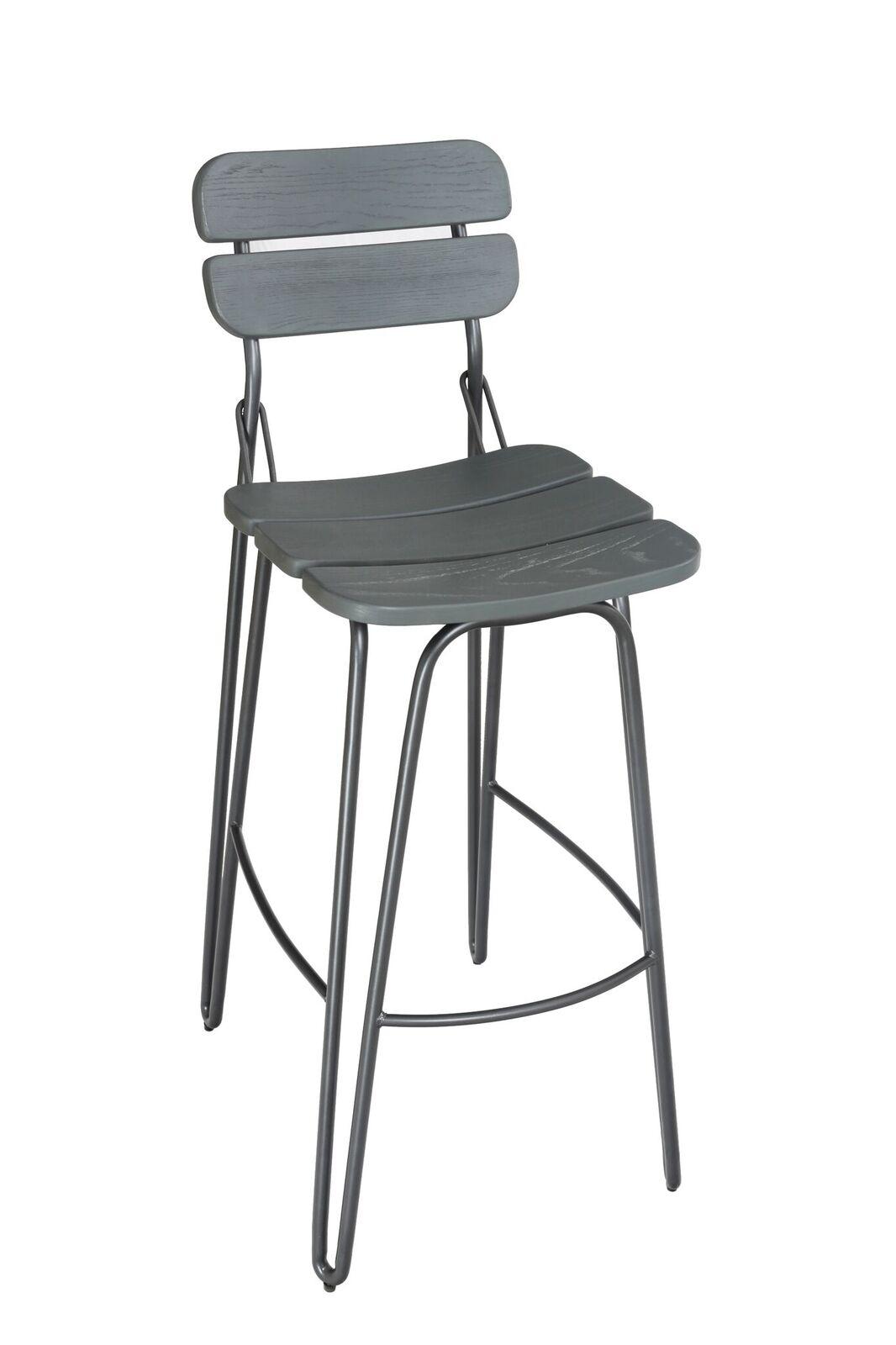 Set 2 scaune de bar din lemn de ulm cu picioare metalice Delta Grey l39xA51xH93 cm
