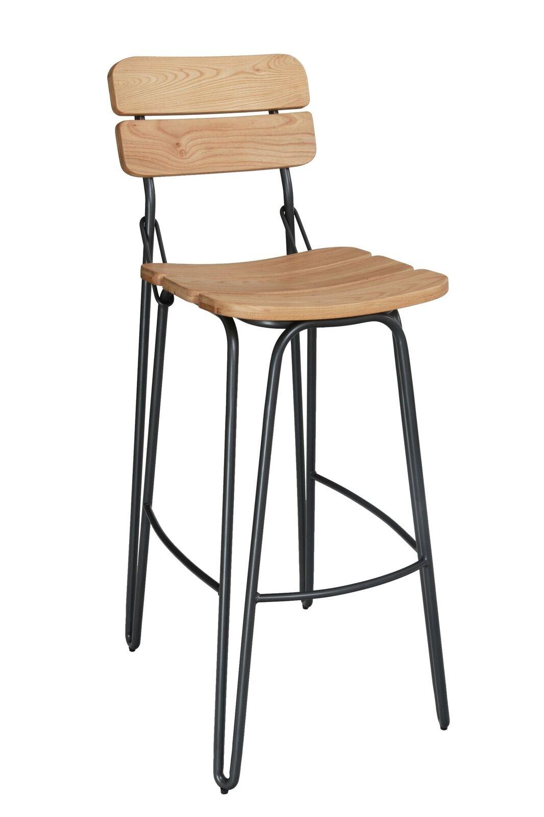 Set 2 scaune de bar din lemn de ulm cu picioare metalice Delta Natural l39xA51xH93 cm