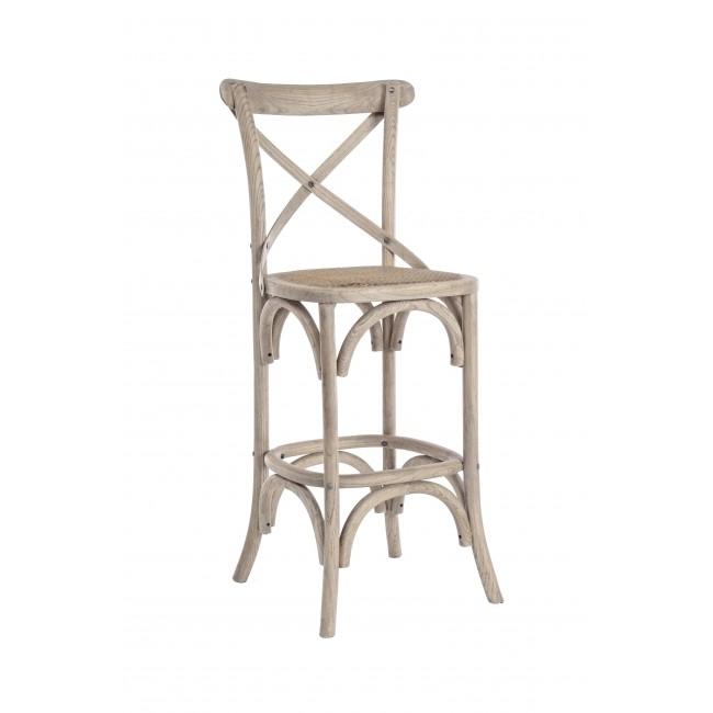 Scaun de bar din lemn de ulm, cu sezut din ratan Cross Gri deschis, l42xA46xH118 cm