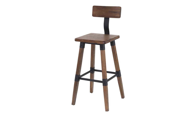 Set 2 scaune de bar din lemn de ulm si metal Hunter Brown l43xA45xH100 cm