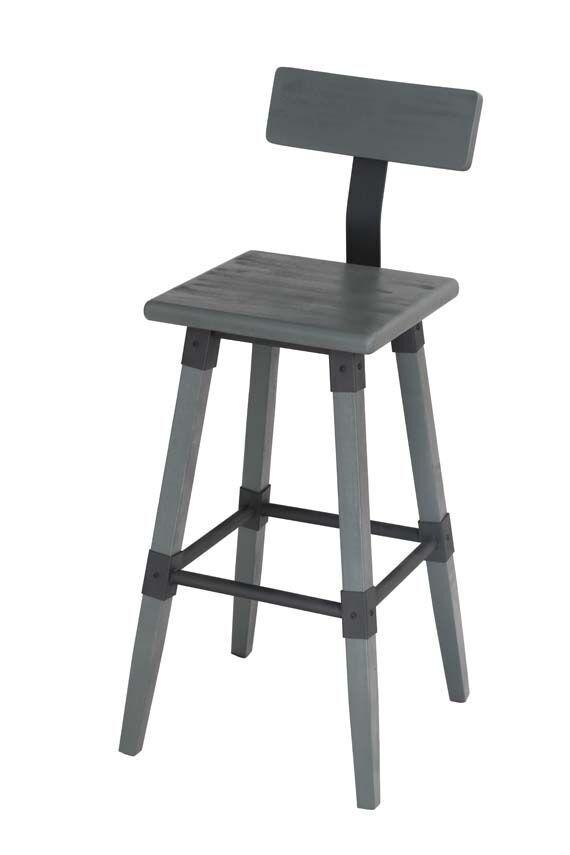 Set 2 scaune de bar din lemn de ulm si metal Hunter Grey l43xA45xH100 cm
