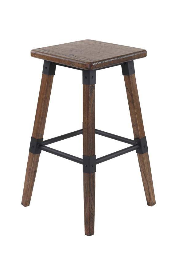 Set 2 scaune de bar din lemn de ulm si metal Lock Brown l43xA43xH72 cm