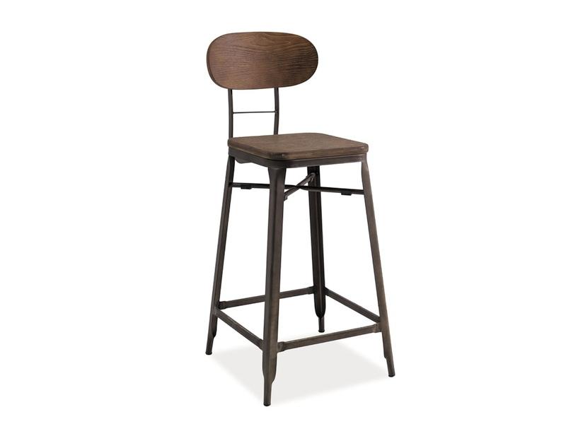 Scaun de bar din lemn si metal Lope Nuc inchis / Grafit, l50xA31xH106 cm