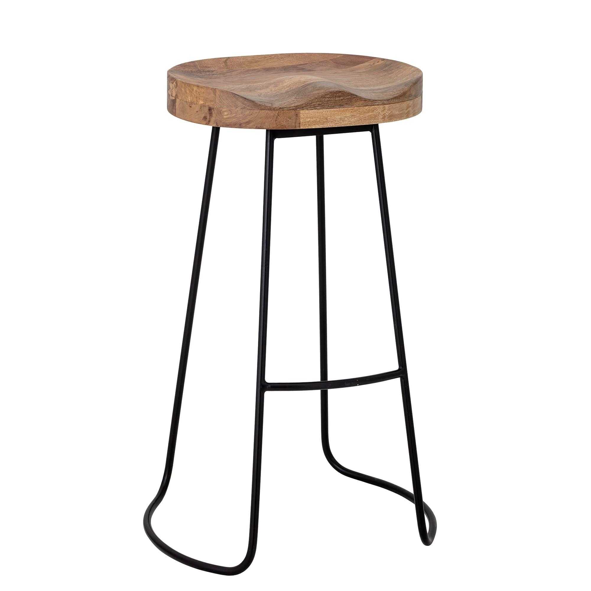 Scaun de bar din lemn si picioare metalice, Alaya Natural, Ø38,5xH73 cm poza