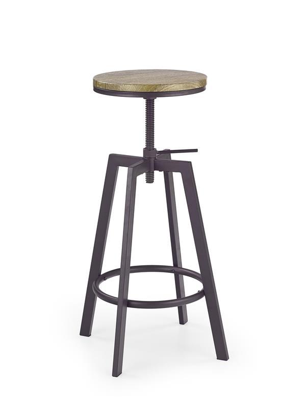 Scaun de bar din MDF cu picioare metalice H-64 Coffee, Ø30xH63-80 cm vivre.ro