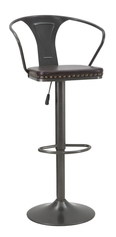 Scaun de bar din metal, cu sezut tapitat cu piele ecologica Detroit Maro / Gri inchis, l51xA48xH86-1