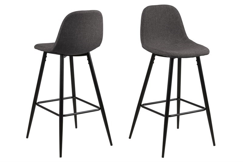 Set 2 Scaune de bar din metal tapitate Wilma Grey/Black II