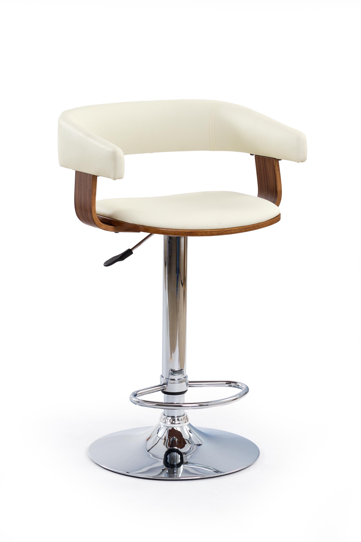 Scaun de bar din pal tapitat cu piele ecologica, cu picior metalic H-12 Crem / Nuc, l53xA47xH81-103