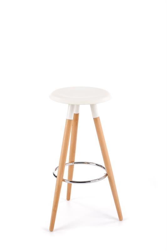 Scaun de bar din plastic, cu picioare din lemn H-50 White / Beech, Ø37xH78 cm vivre.ro