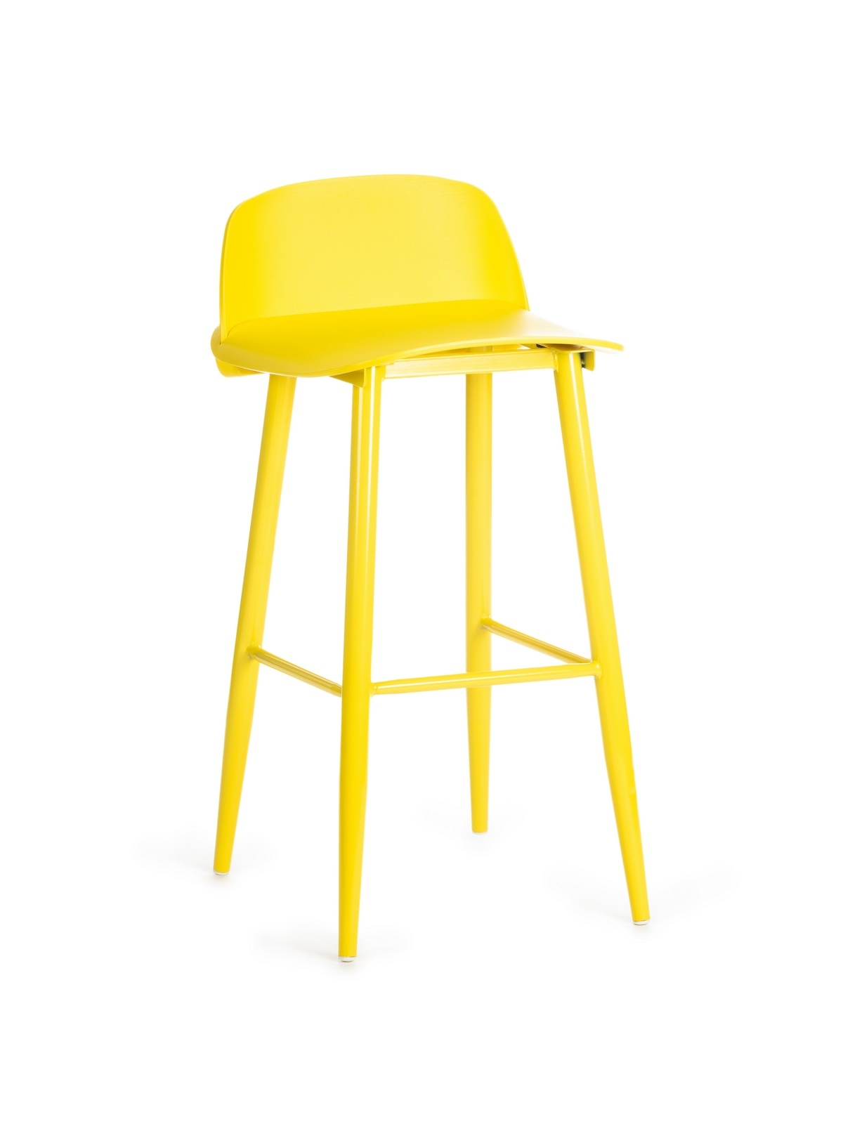 Scaun de bar din plastic, cu picioare metalice Roxie Yellow, l45xA42xH75cm imagine