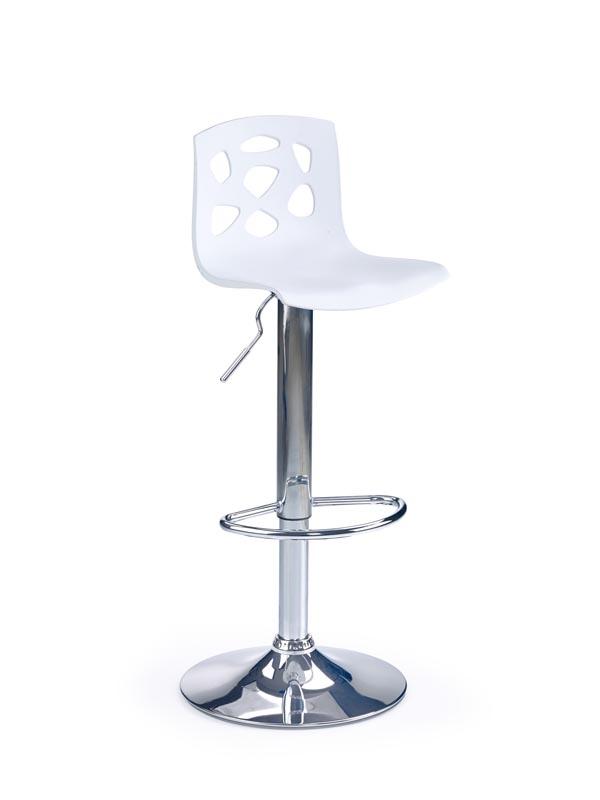 Scaun de bar din plastic, cu picior metalic H-48 White, l37xA39xH83-105 cm