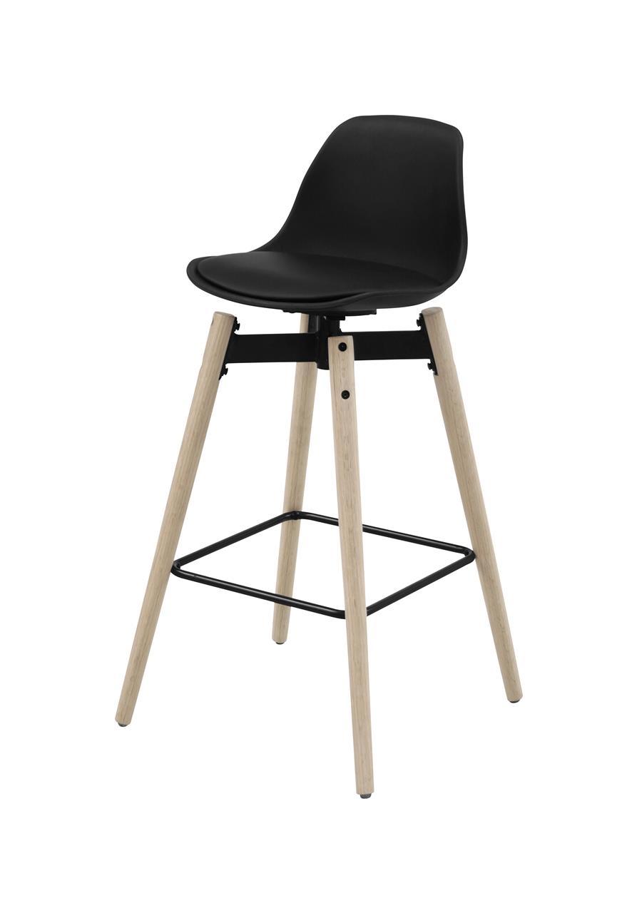 Scaun de bar din plastic, sezut tapitat cu piele ecologica si picioare din lemn Zenta Negru / Stejar Deschis, l48,5xA49xH94 cm imagine