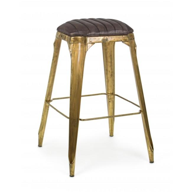 Scaun de bar tapitat cu piele, cu picioare metalice Mendez Maro / Auriu, l53xA53xH79 cm