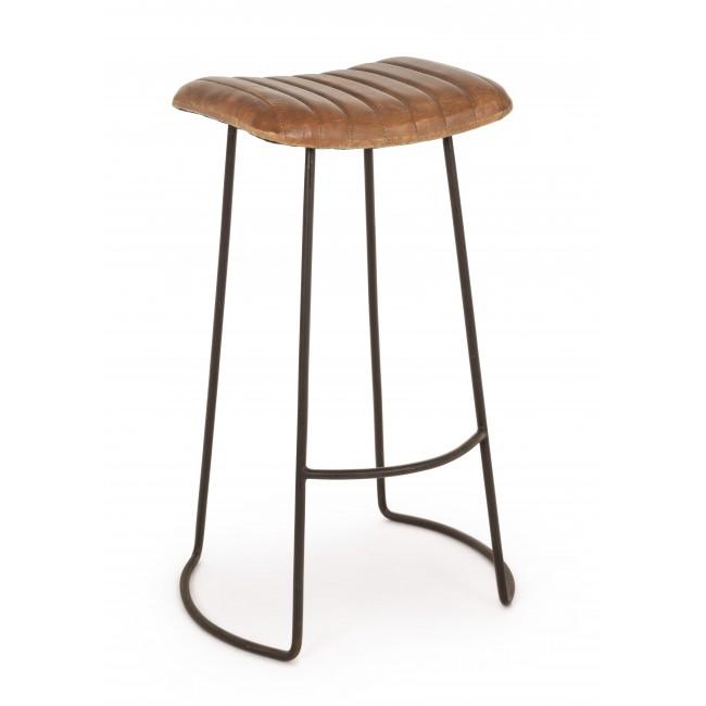Scaun de bar tapitat cu piele, cu picioare metalice Nadira Maro / Negru, l50xA43xH76 cm