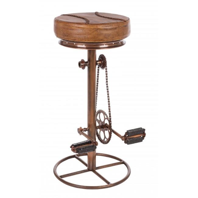 Scaun de bar tapitat cu piele, cu picior metalic Cycle Cupru, Ø42xH80 cm