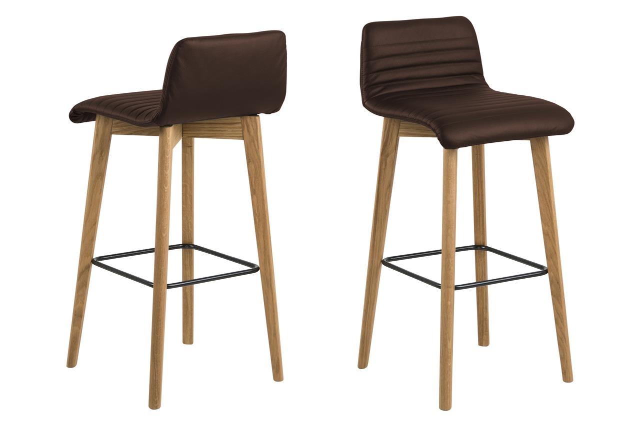 Set 2 scaune de bar tapitate cu piele ecologica Arosa Brown