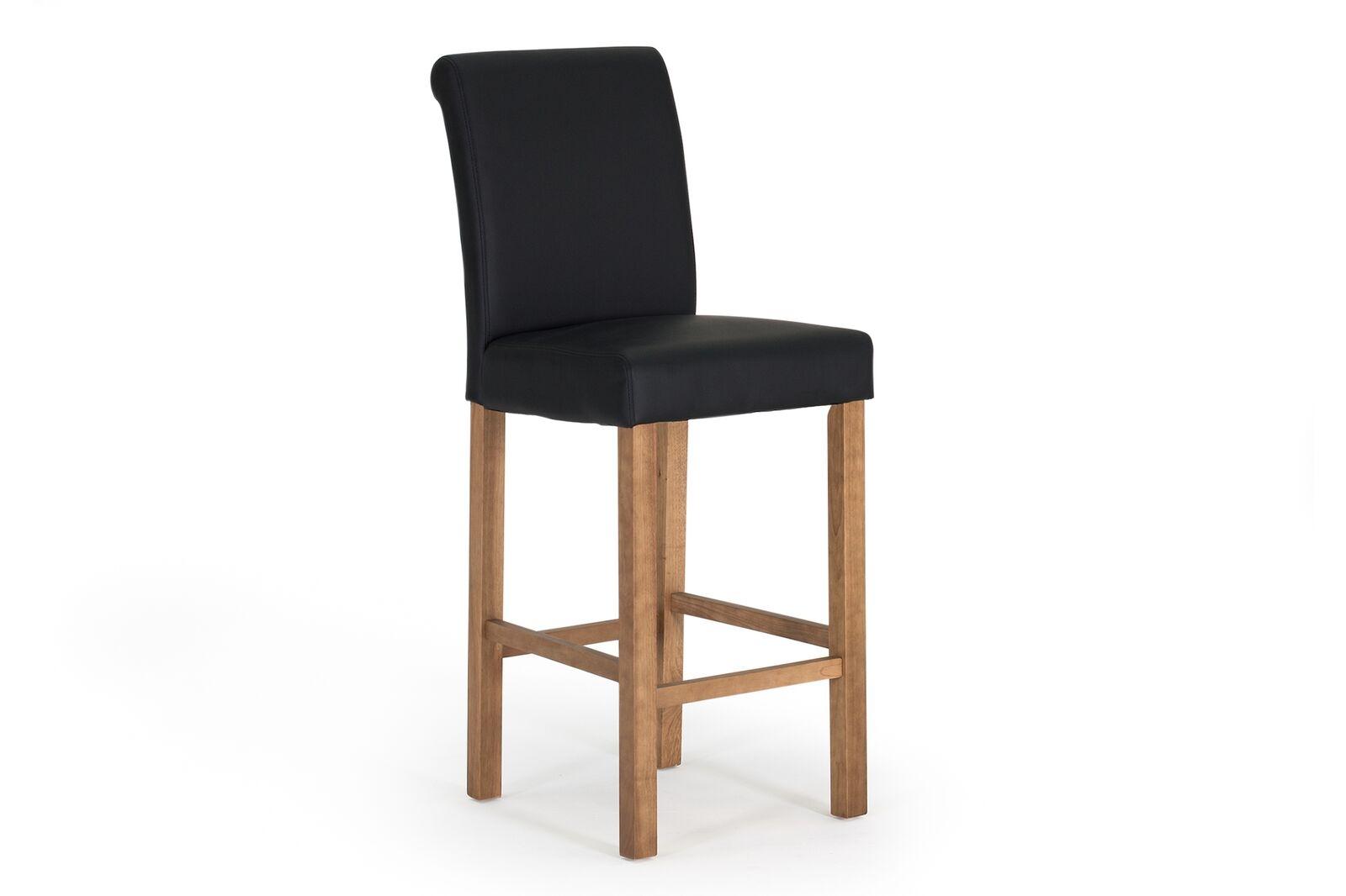 Set 2 scaune de bar tapitate cu piele ecologica cu picioare din lemn de stejar Carlton Black / Oak l48xA66xH114 cm