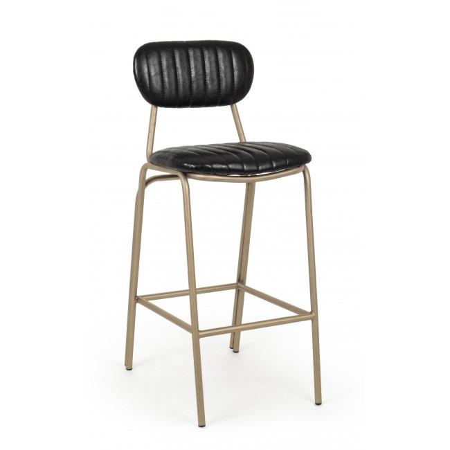 Scaun de bar tapitat cu piele ecologica, cu picioare metalice Addy Negru, l41xA51xH100 cm