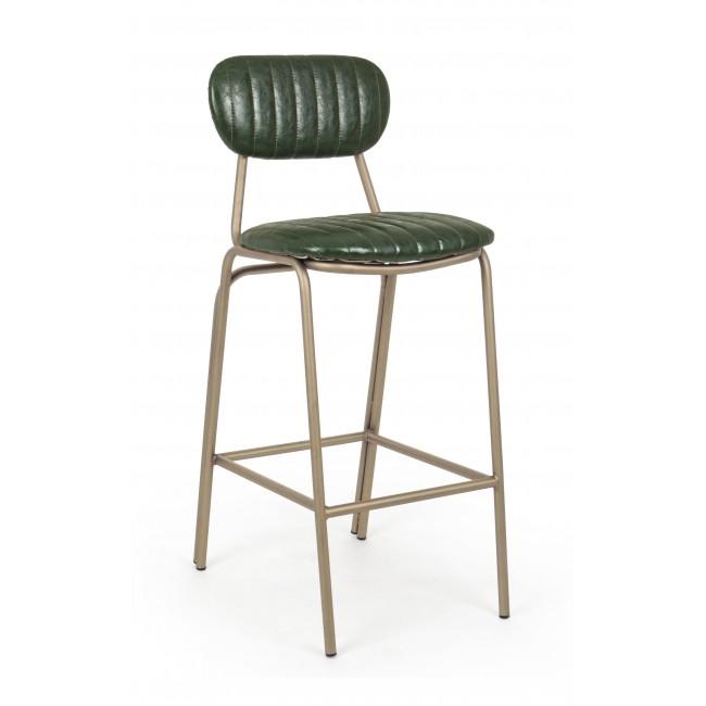 Scaun de bar tapitat cu piele ecologica, cu picioare metalice Addy Verde inchis, l41xA51xH100 cm