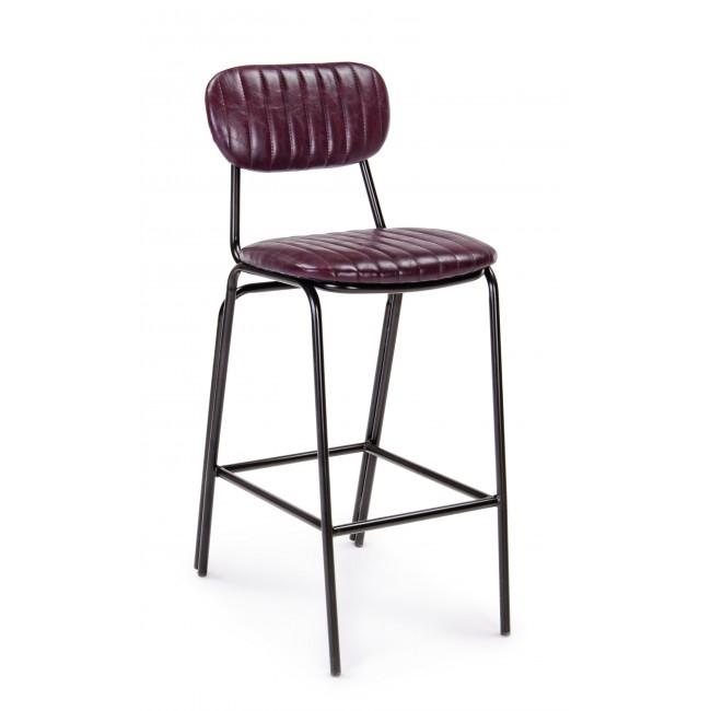 Scaun de bar tapitat cu piele ecologica, cu picioare metalice Debbie Vintage Bordeaux / Negru, l44xA