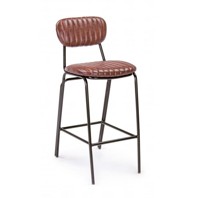 Scaun de bar tapitat cu piele ecologica, cu picioare metalice Debbie Vintage Maro / Negru, l44xA51xH