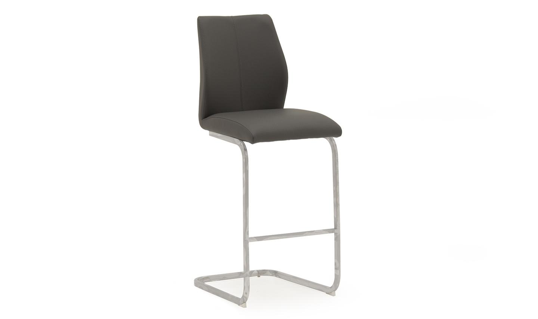 Set 2 scaune de bar tapitate cu piele ecologica cu picioare metalice Elis Grey l42xA50xH1095 cm