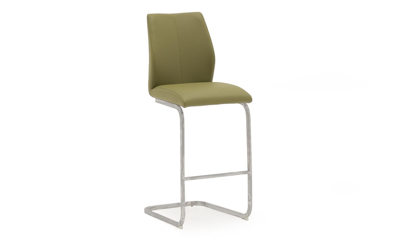 Set 2 scaune de bar tapitate cu piele ecologica cu picioare metalice Elis Olive l42xA50xH1095 cm