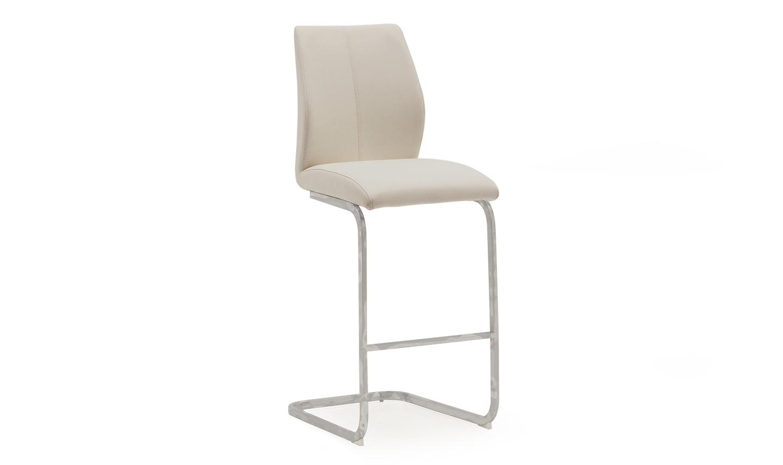 Set 2 scaune de bar tapitate cu piele ecologica cu picioare metalice Elis Taupe l42xA50xH1095 cm