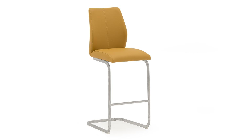 Set 2 scaune de bar tapitate cu piele ecologica cu picioare metalice Elis Yellow l42xA50xH1095 cm