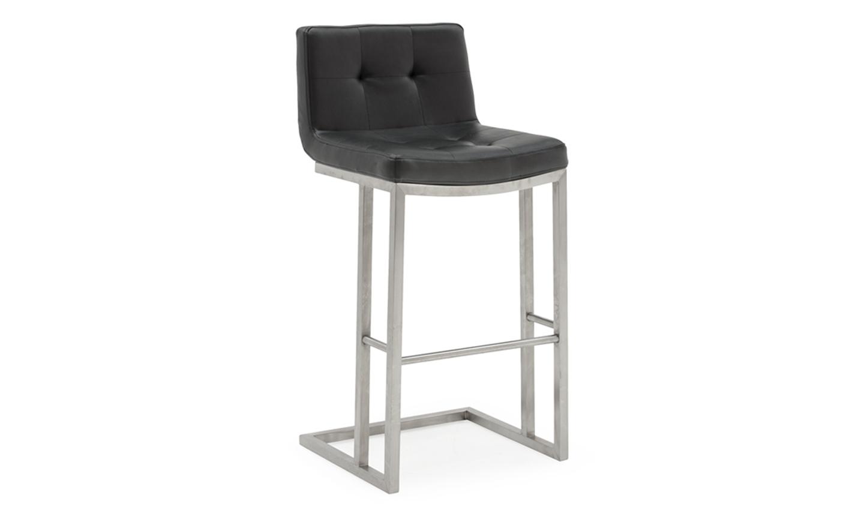 Set 2 scaune de bar tapitate cu piele ecologica cu picioare metalice Elstra Black l455xA52xH102 cm