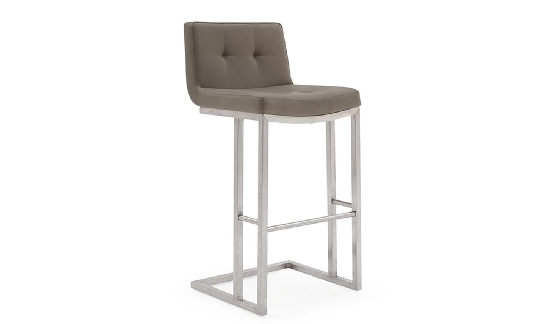 Scaun de bar tapitat cu piele ecologica cu picioare metalice Elstra Brown l455xA52xH102 cm