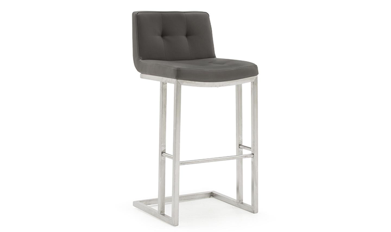 Set 2 scaune de bar tapitate cu piele ecologica cu picioare metalice Elstra Grey l455xA52xH102 cm