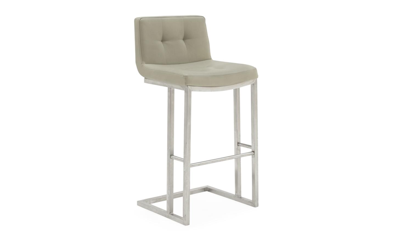 Set 2 scaune de bar tapitate cu piele ecologica cu picioare metalice Elstra Taupe l455xA52xH102 cm