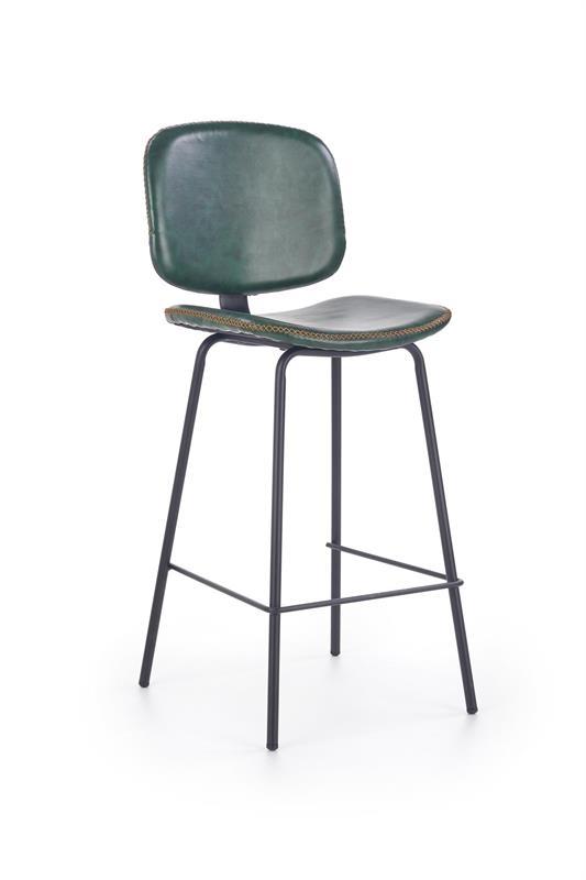 Scaun de bar tapitat cu piele ecologica, cu picioare metalice H-84 Dark Green, l44xA50xH101 cm poza