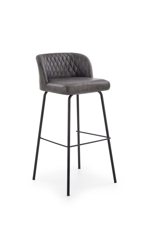 Scaun de bar tapitat cu piele ecologica, cu picioare metalice H-92 Gri inchis / Negru, l48xA46xH94 cm somproduct.ro