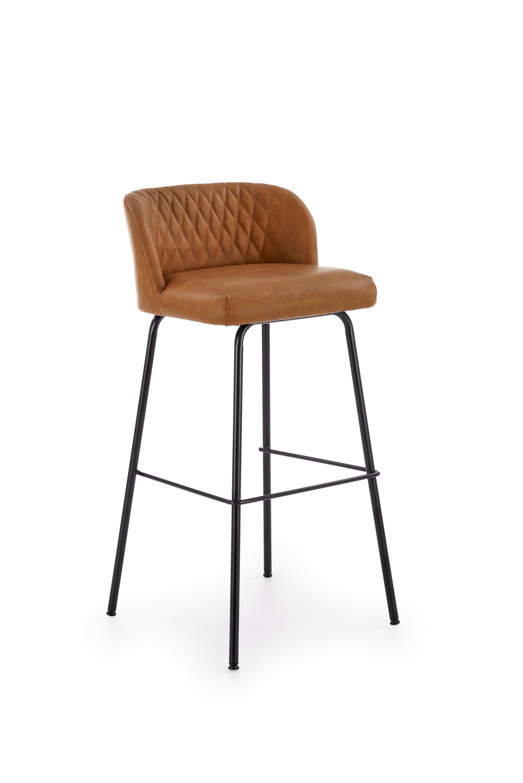 Scaun de bar tapitat cu piele ecologica, cu picioare metalice H-92 Maro deschis / Negru, l48xA46xH94 cm