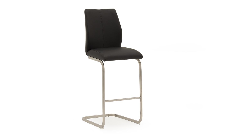 Set 2 scaune de bar tapitate cu piele ecologica cu picioare metalice Irma Black l42xA50xH1095 cm