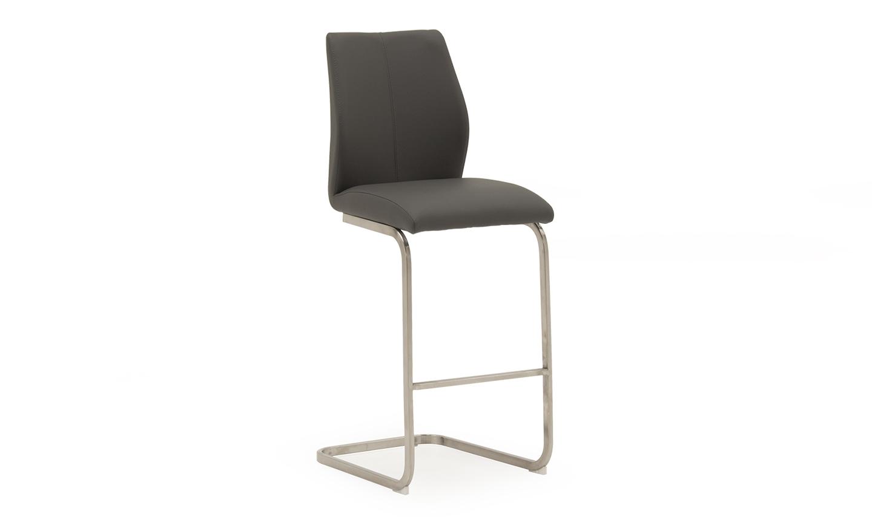 Set 2 scaune de bar tapitate cu piele ecologica cu picioare metalice Irma Grey l42xA50xH1095 cm