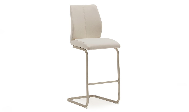 Set 2 scaune de bar tapitate cu piele ecologica cu picioare metalice Irma Ivory l42xA50xH1095 cm