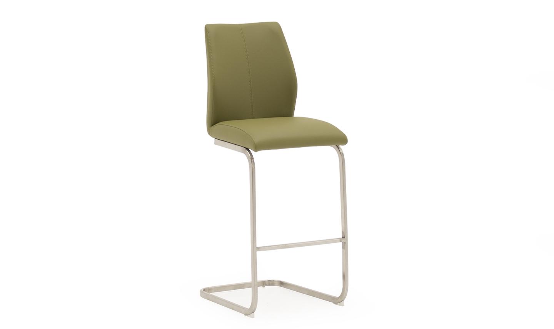 Set 2 scaune de bar tapitate cu piele ecologica cu picioare metalice Irma Olive l42xA50xH1095 cm