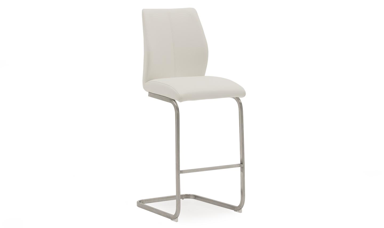 Set 2 scaune de bar tapitate cu piele ecologica cu picioare metalice Irma White l42xA50xH1095 cm