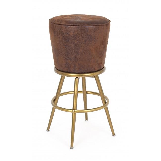 Scaun de bar tapitat cu piele ecologica, cu picioare metalice Rossini Maro, Ø48xH74 cm