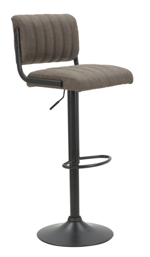 Scaun de bar tapitat cu piele ecologica, cu picior metalic Brok Maro / Negru, l39xA49xH84-105 cm