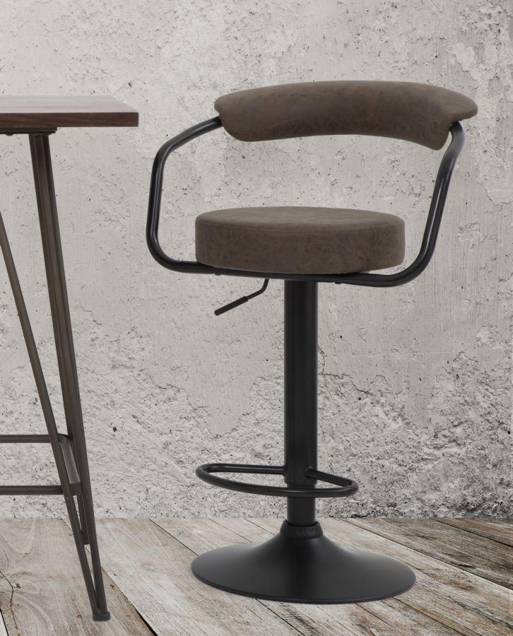 Scaun de bar tapitat cu piele ecologica, cu picior metalic Brokly Maro / Negru, l48xA49xH84-105 cm imagine