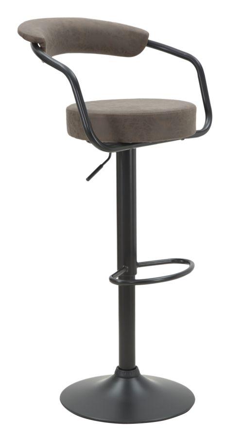 Scaun de bar tapitat cu piele ecologica, cu picior metalic Brokly Maro / Negru, l48xA49xH84-105 cm