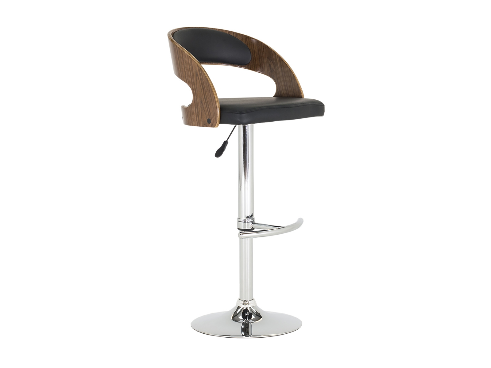 Scaun de bar tapitat cu piele ecologica cu picior metalic Flair Brown / Black l46xA41xH109 cm