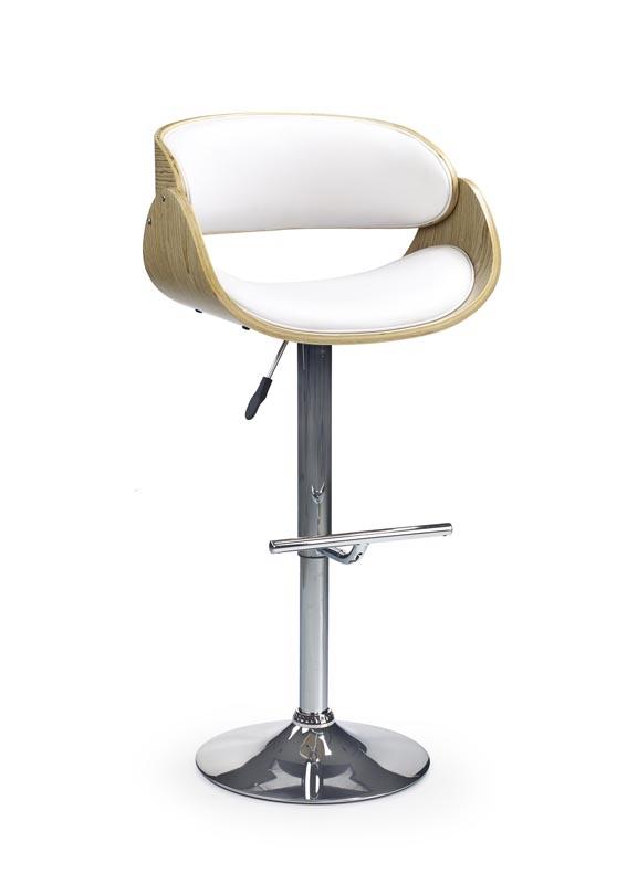 Scaun de bar tapitat cu piele ecologica, cu picior metalic H-43 White / Light Oak, l53xA50xH89-111 cm vivre.ro