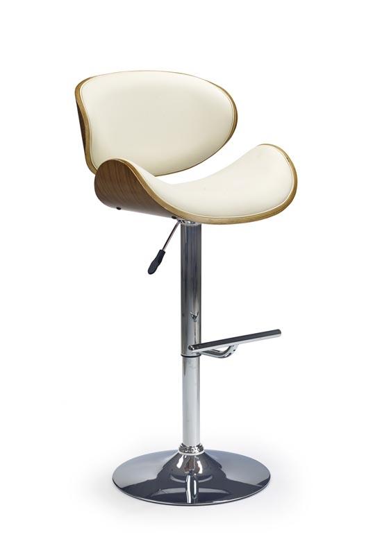 Scaun de bar tapitat cu piele ecologica, cu picior metalic H-44 Cream, l53xA51xH93-115 cm